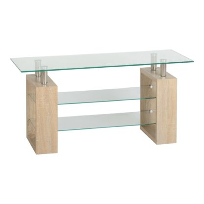 An Image of Milan Glass TV Stand Natural