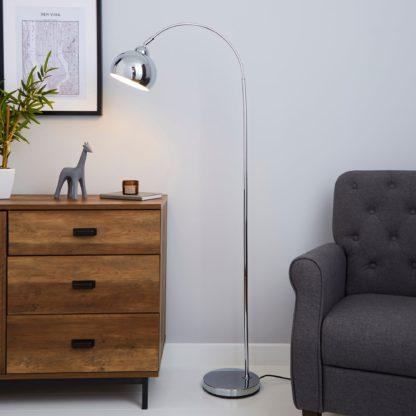 An Image of Herm Arc Chrome Floor Lamp Chrome