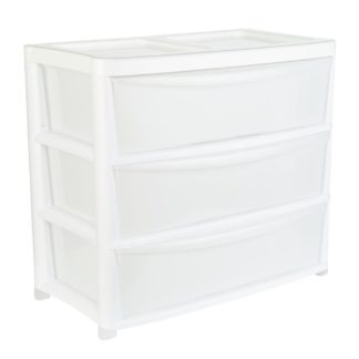 An Image of Argos Home Gloss Jumbo Wide Plastic Storage 3 Drawer - White