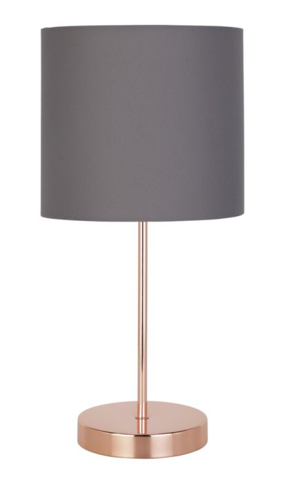 An Image of Argos Home Stick Table Lamp - Grey and Rose Gold