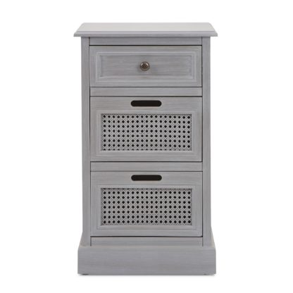 An Image of Lucy Cane Grey Bedside Table Grey