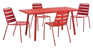 An Image of Habitat Darwin 4 Seater Metal Bistro Set - Red