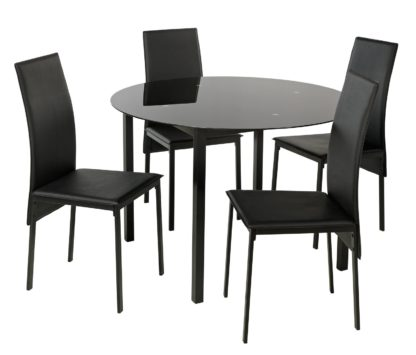 An Image of Argos Home Lido Glass Round Dining Table & 4 Black Chairs
