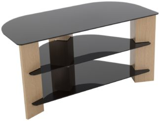 An Image of AVF Up To 42 Inch TV Stand - Black Glass and Oak Effect