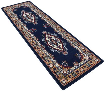 An Image of Maestro Traditional Runner - 67x300cm - Navy.