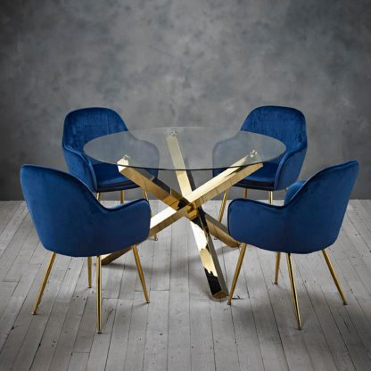 An Image of Laila 4 Seater Dining Set - Blue Blue