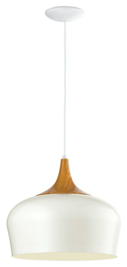An Image of Eglo Obregon Pendant Light - Cream & Oak Effect