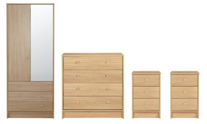 An Image of Habitat Malibu 4 Piece 2 Door Wardrobe Set - Beech Effect