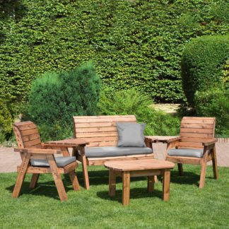 An Image of Charles Taylor 4 Seater Wooden Conversation Set with Grey Seat Pads Wood (Brown)
