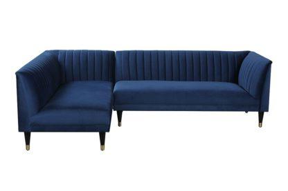 An Image of Baxter Left Hand Corner Sofa – Navy Blue