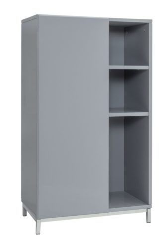 An Image of Argos Home Gloss Double Unit - Grey
