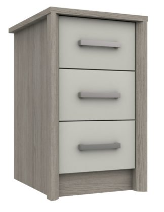 An Image of Grasmere 3 Drawer Bedside Table - White