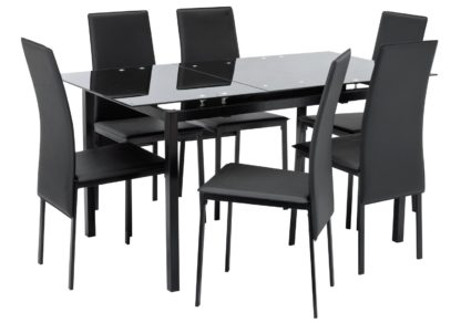 An Image of Argos Home Lido Glass Extending Table & 6 Black Chairs
