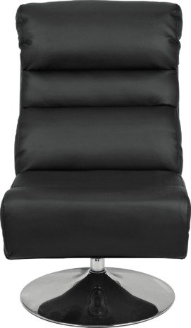 An Image of Argos Home Costa Swivel Chair and Footstool - Black