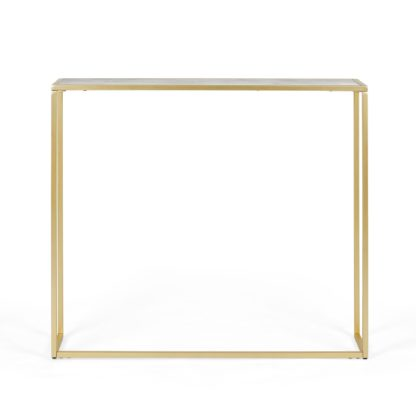 An Image of Sullivan Gold Effect Slim Console Table Gold