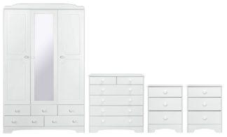 An Image of Argos Home Nordic 4 Piece 3 Door Wardrobe Set - Soft White