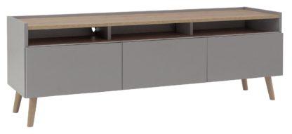 An Image of Habitat Skandi 3 Drawer TV Unit - Grey Two Tone