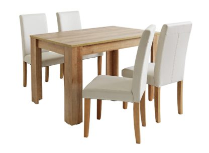 An Image of Habitat Miami Oak Effect Table & 4 Charcoal Chairs