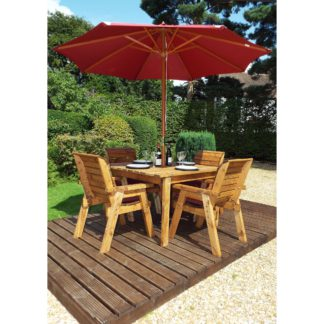 An Image of Charles Taylor 4 Seater Wooden Square Dining Set with Burgundy Seat Pads and Parasol Brown
