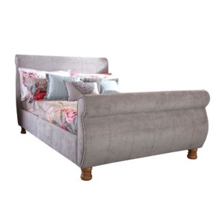 An Image of Chicago Upholstered Sleigh Bedstead Silver