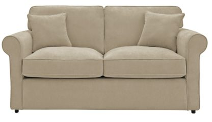 An Image of Habitat William 2 Seater Fabric Sofa Bed - Natural
