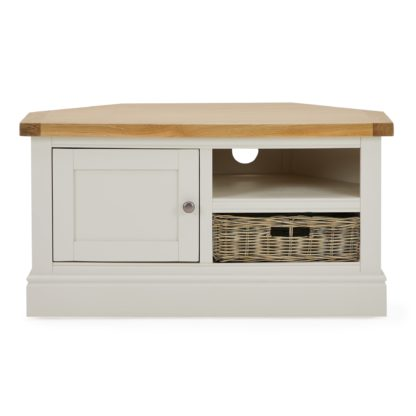 An Image of Compton Ivory Corner TV Stand with Baskets Cream