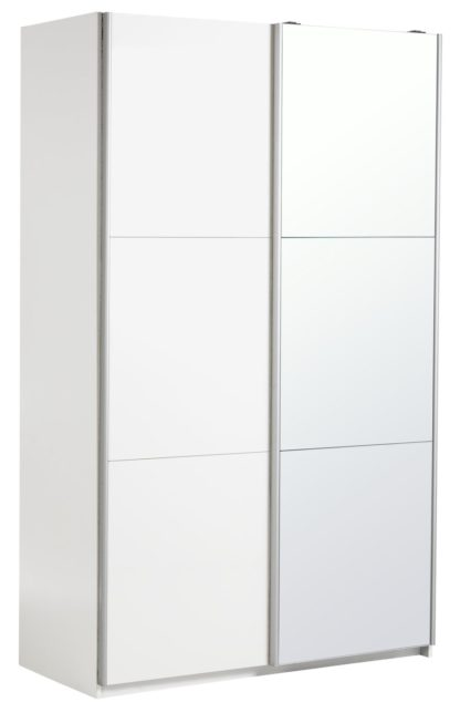 An Image of Habitat Holsted Large Grey Gloss &Mirror Sliding Wardrobe