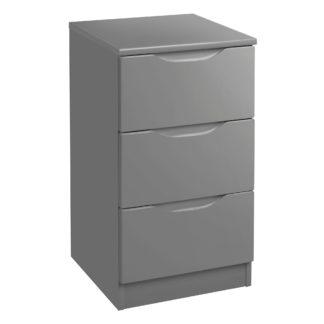 An Image of Legato Grey 3 Drawer Bedside Grey