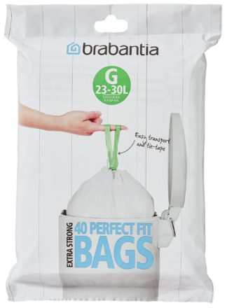An Image of Brabantia 30 Litre Perfect Fit Bin Bags Size G - Pack of 40