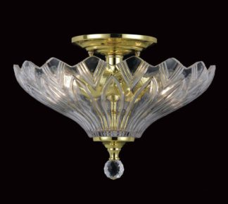 An Image of Dallas Glass 2 Bulb Light Fitting - Polished Brass.