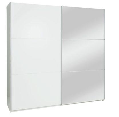 An Image of Habitat Holsted Extra Large White Gloss & Mirror Wardrobe