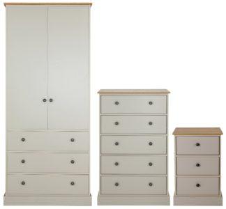 An Image of Argos Home Kensington 3 Piece Wardrobe Set -Grey/ Oak Veneer