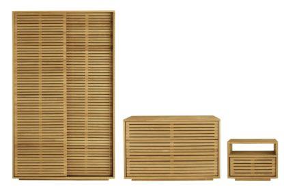 An Image of Habitat Max 3 Piece 2 Door Wardrobe Set - Oak