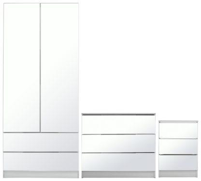 An Image of Argos Home Sandon 3 Piece 2 Door Mirror Wardrobe Set - White