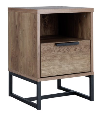 An Image of Habitat Nomad 1 Drawer Bedside Table - Oak Effect