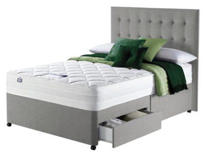 An Image of Silentnight Knightly 2000 2 Drawer Kingsize Divan Bed - Grey