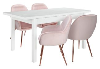 An Image of Argos Home Lyssa Wood Dining Table & 4 Bella Pink Chairs