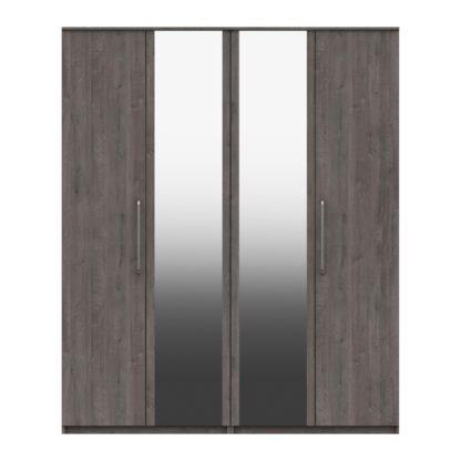 An Image of Parker Grey 4 Door Mirrored Wardrobe Dark Grey