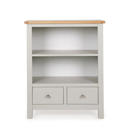An Image of Bromley Grey Low Bookcase Grey and Brown