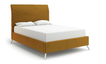 An Image of MiBed Seattle Velvet Knigsize Bed Frame - Mustard
