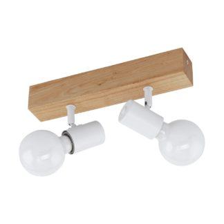 An Image of Eglo Townshend 2 Light Spotlight - White and Oak