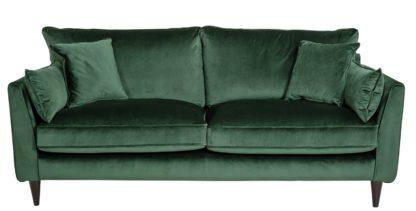 An Image of Habitat Hector 3 Seater Velvet Sofa - Green
