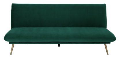An Image of Habitat Matteo 2 Seater Velvet Sofa Bed - Green