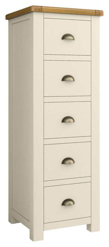 An Image of Habitat Kent 5 Drawer Tallboy - Cream & Oak