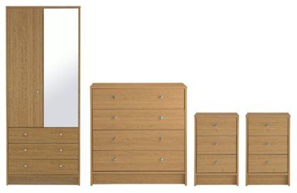 An Image of Habitat Malibu 4 Piece 2 Door Wardrobe Set - Oak Effect