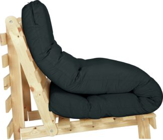 An Image of Habitat Single Futon Sofa Bed with Mattress - Black