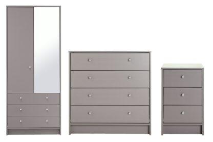 An Image of Habitat Malibu 3 Piece 2 Door Mirror Wardrobe Set - Grey