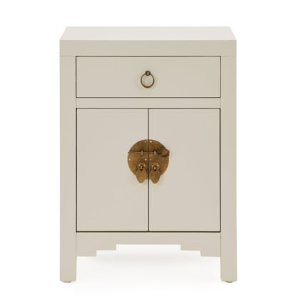 An Image of Hanna Mini Oyster Chest White and Brown