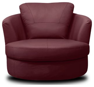 An Image of Argos Home Milano Leather Swivel Chair - Burgundy