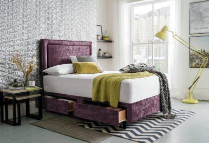 An Image of Silentnight Toulouse Velvet Kingsize 4 Drawer Divan - Purple